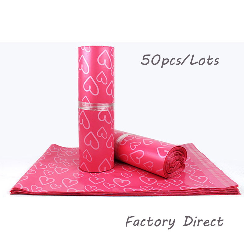 50Pcs/Lot Courier Bags Frosted Pink Heart Pattern Self-Seal Adhesive Bag Matte Material Envelope Mailer Postal Mailing Bags