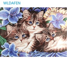 NEW Frameless Three cats oil painting pictures Abstract Painting Diy Digital  By Numbers Modern Animals Wall Art Picture