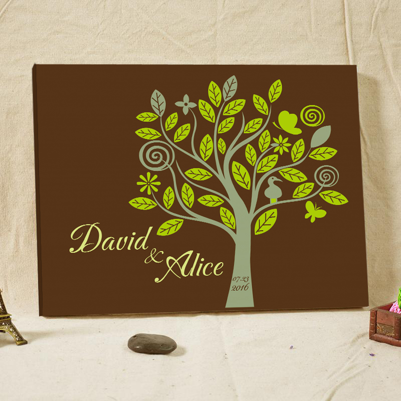 Rustic Wedding Guest Book Fingerprint Tree Framed Custom Names Family Tree Baby Shower Canvas Prints Poster Wedding Decorations