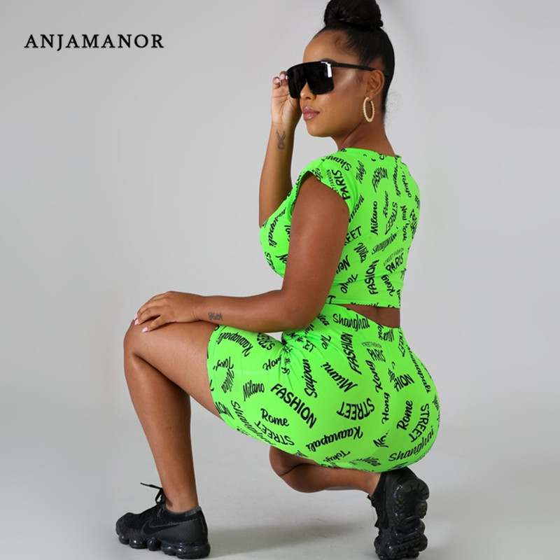 ANJAMANOR Letter Print Summer Two Piece Set Women Neon Clothes Fashion Matching Sets 2pcs Short Set Female Outfits D60-AB41
