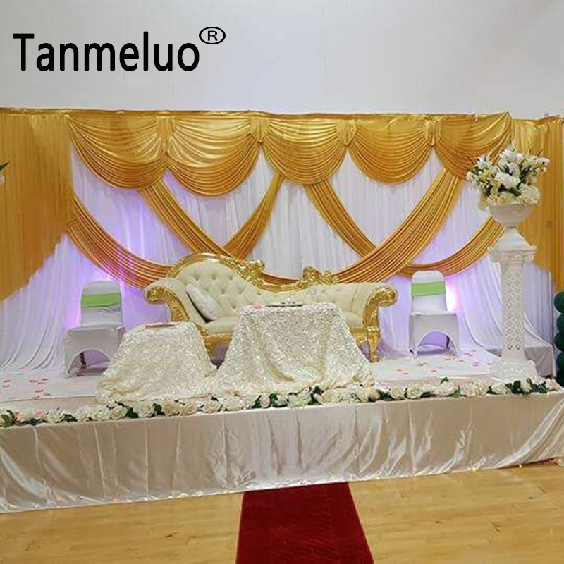 Wedding White Event: 10*20ft Event Backdrop For Wedding White And Gold Wedding