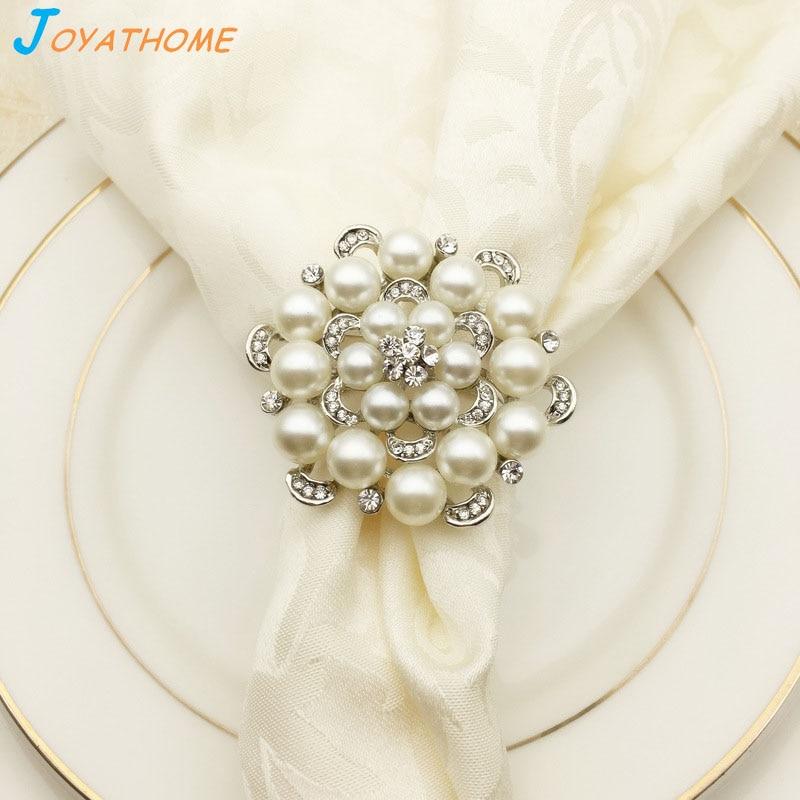 Joyathome Rose Shape Pearl Silver Wedding Napkin Ring Napkin Rings Christmas Table Decorations Napkin Ring Rose in Napkin Rings from Home Garden