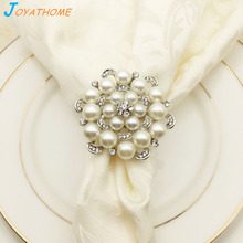 Joyathome Rose Shape Pearl Silver Wedding Napkin Ring Rings Christmas Table Decorations