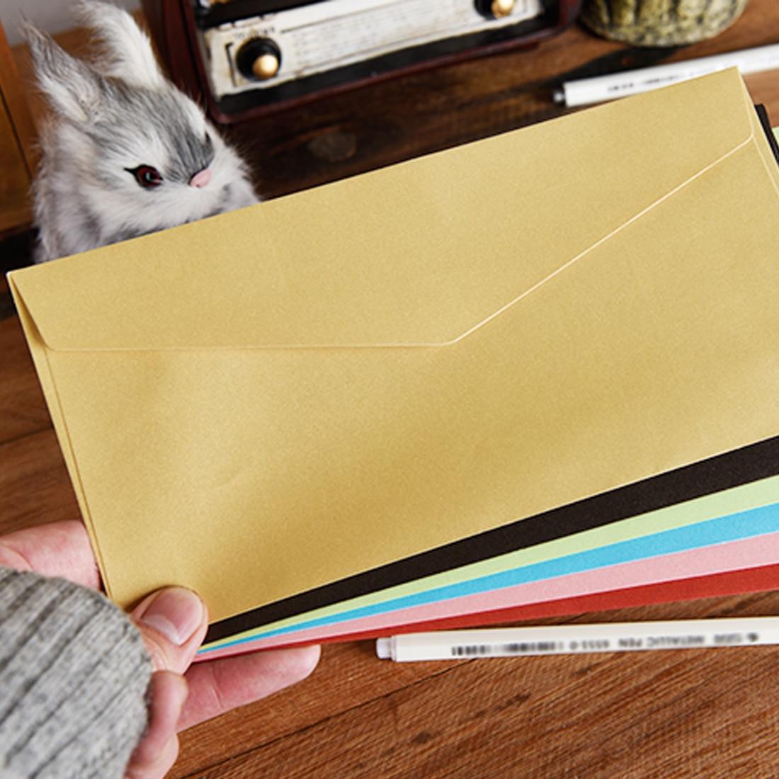 FangNymph 20pcs Classical Kraft Envelopes European Retro Paper Envelope Blank Envelops 11*22cm Office Supplier Stationery