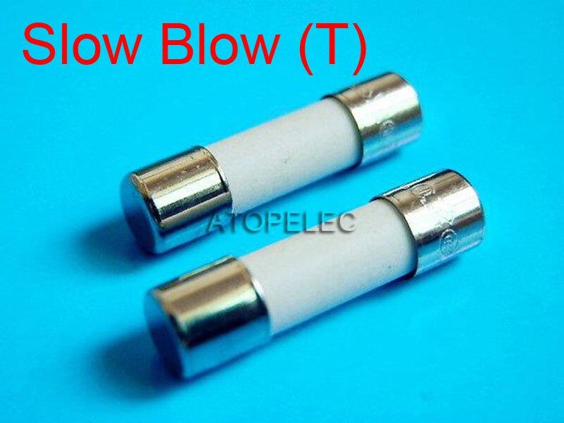 1pc 5x20mm Ceramic Fuse 5mm X 20mm Slow Blow T 2A 3.15A 4A 5A 6.3A 8A 10A 250V