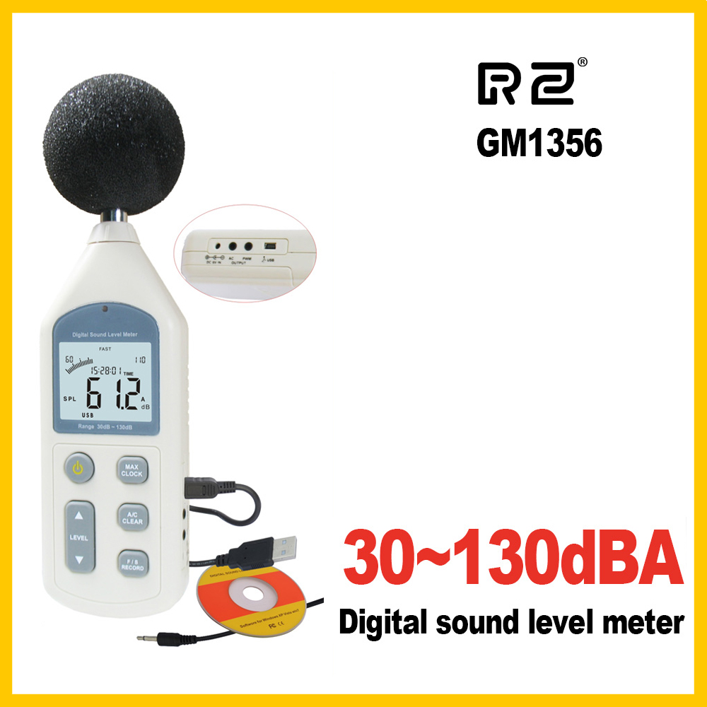 RZ New Digital Sound Level Meter Meters Noise Tester GM1356 30-130dB LCD A/C FAST/SLOW DB Screen USB + Software
