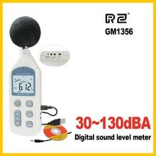 Rz novo medidor de nível de som digital medidores testador de ruído gm1356 30 130db lcd a/c rápido/lento db tela usb + software