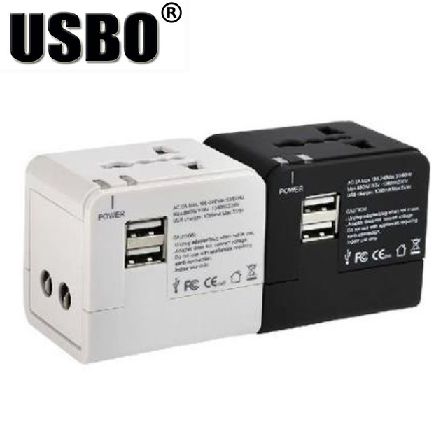 Black White global Universal Plug Adapter double USB 5V 2.1A Port travel AC Power Adaptor with AU US UK EU plug socket converter