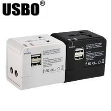 """שחור לבן הגלובלי אוניברסלי תקע מתאם כפול USB 5 v 2.1A יציאת נסיעות AC חשמל מתאם עם AU ארה""""ב בריטניה האיחוד האירופי plug socket ממיר"""