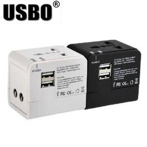 """Image 1 - שחור לבן הגלובלי אוניברסלי תקע מתאם כפול USB 5 v 2.1A יציאת נסיעות AC חשמל מתאם עם AU ארה""""ב בריטניה האיחוד האירופי plug socket ממיר"""