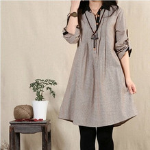 Hitz the commoner loose large size women dress in long sleeved linen cotton long shirts