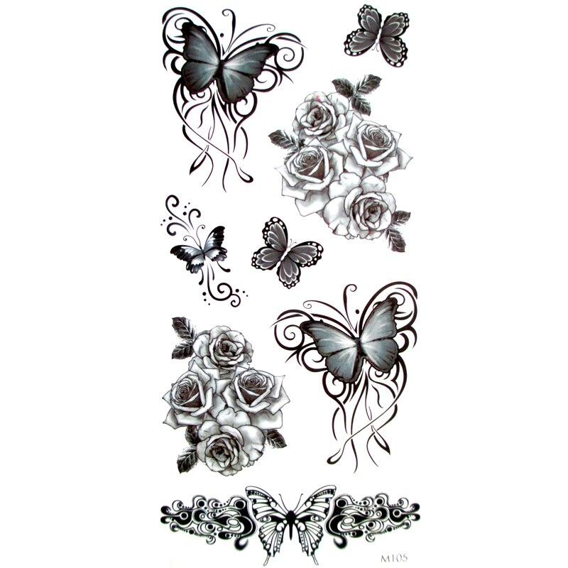 Tatouage Temporaire Avec Papillon Noir 3d Autocollant Impermeable Pour Hommes Et Femmes Maquillage 3 Pieces Aliexpress