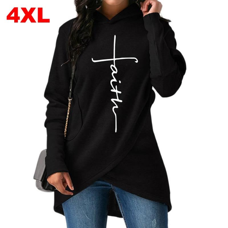 Alta calidad talla grande 2018 nueva moda Faith Print Kawaii Sudadera Mujer sudaderas mujeres jóvenes mujeres creativas Tops S-4XL