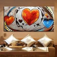 Große Abstrakte Gemälde auf Leinwand Handgemaltes Rot Blau Herzen Ölgemälde Moderne Wohnkultur Wandkunst Bilder Für Wohnzimmer