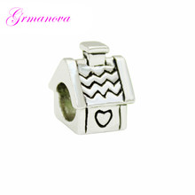 Love small tile family European big hole charm beads female classic pop amulet Fit Pandora Bracelet Women's DIY Jewelry(China)