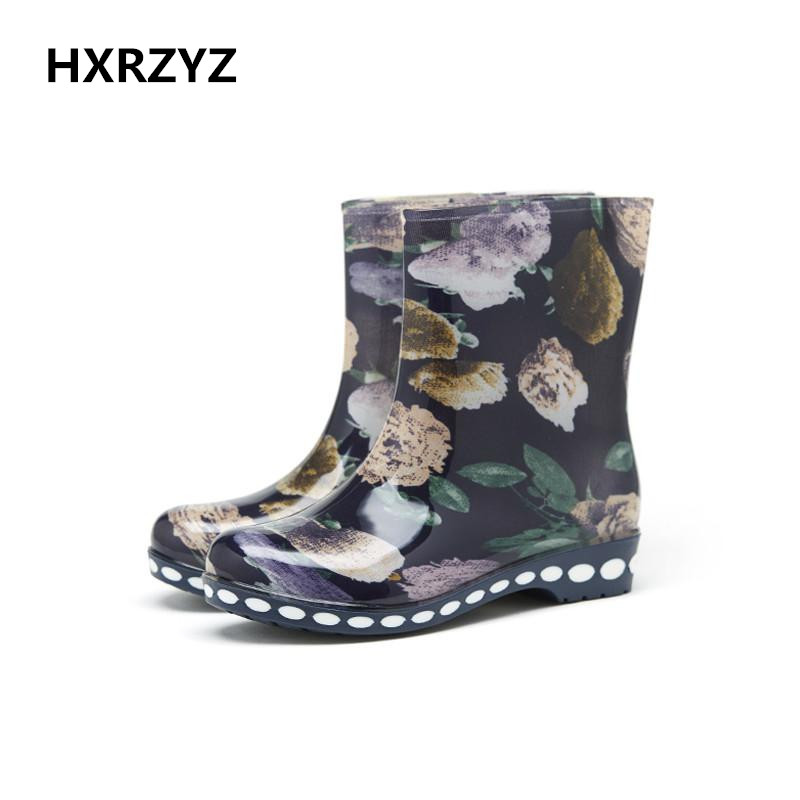 HXRZYZ Europe and the United States fashion lady short tube rain boots Waterproof non-slip rubber boots women shoes 1605 2017 newinferior smooth pointed high women s shoes with ankle boots fine low europe and the united states pointe