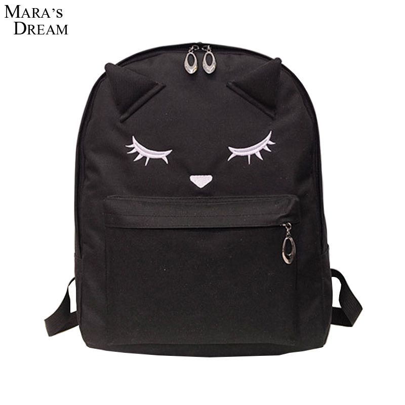 7350fec4ff7 Mara's Dream Backpack Women Solid Candy Color Embroidery Big Eyes Zipper  Double Metal Zippers Canvas School Bags for Girls