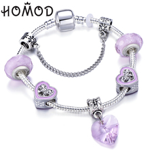 HOMOD Hight Quality Pink Murano Heart Beads Charm Bracelet Fits Brand For Women Valentines Day Jewelry 2019 New