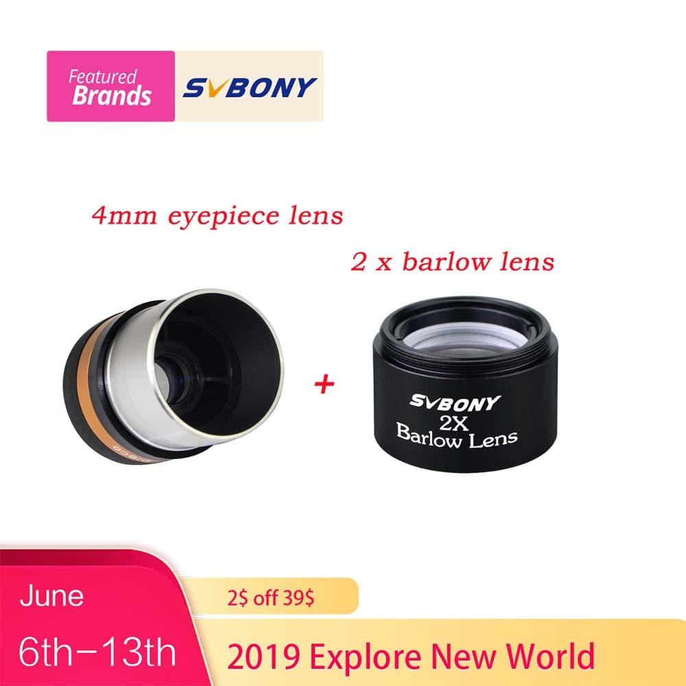 SVBONY Aspheric Eyepiece Telescope HD Wide Angle 1.25 62 De Eyepiece Lens 4mm+ 2x Barlow Lens For Monocular Binoculars F9301SVBONY Aspheric Eyepiece Telescope HD Wide Angle 1.25 62 De Eyepiece Lens 4mm+ 2x Barlow Lens For Monocular Binoculars F9301