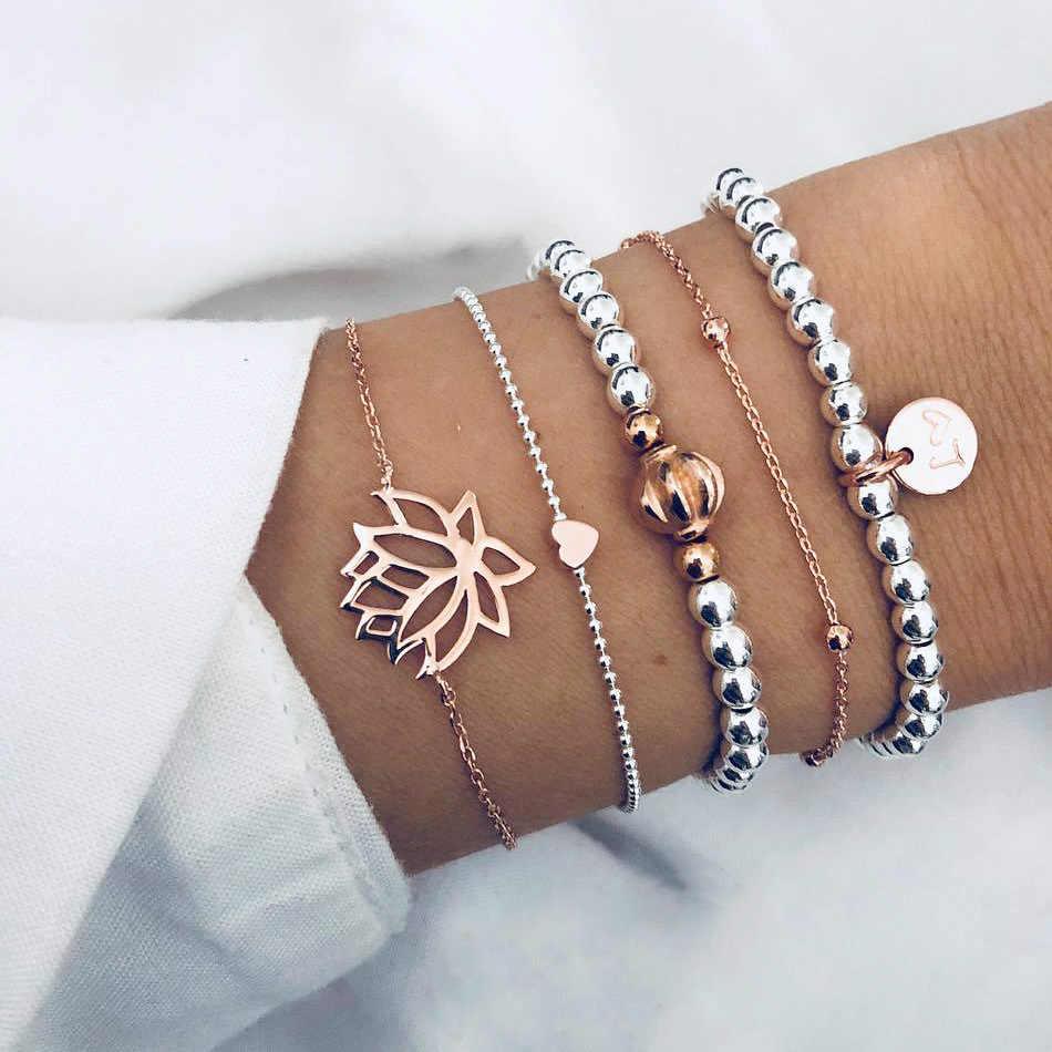 Bohemian Shell Charm Bracelets for Women Vintage Golden Turtle MaP Chain Cuff Bracelet Set Fashion Beads Bracelet Female jewelry