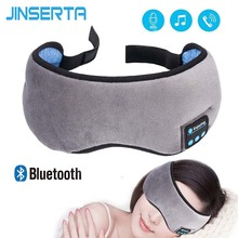 JINSERTA kablosuz Stereo Bluetooth kulaklık uyku maskesi 5.0 Bluetooth uyku yumuşak kulaklık desteği Handsfree uyku göz maskesi
