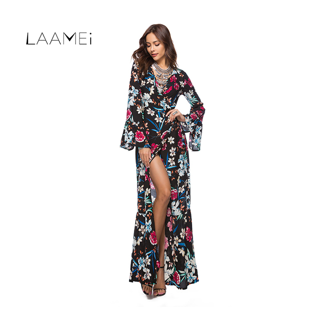 a0a6f090b1 Laamei Sexy Long Dress For Women Maxi Boho Floral Printed Vestidos Deep V- neck Split Fashion Robe Femme Summer Beach Dresses New