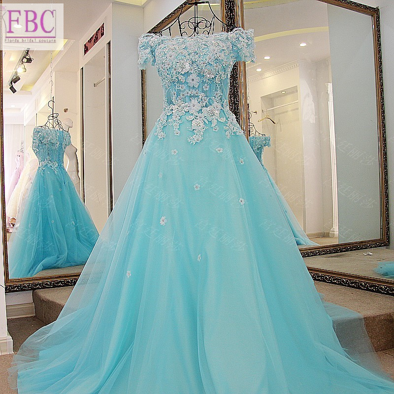 2018 Real Picture Turquoise Ball Gown Prom Dresses Scoop Gold Appliques  Handmade Flowers Evening Dresses Party Gowns -in Prom Dresses from Weddings    Events ... 865baf64a