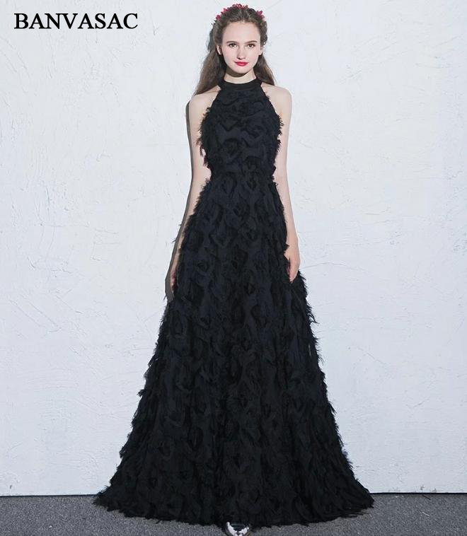 BANVASAC 2018 Vintage Halter Feathers Sleeveless A Line Long   Evening     Dresses   Elegant Off The Shoulder Party Prom Gowns