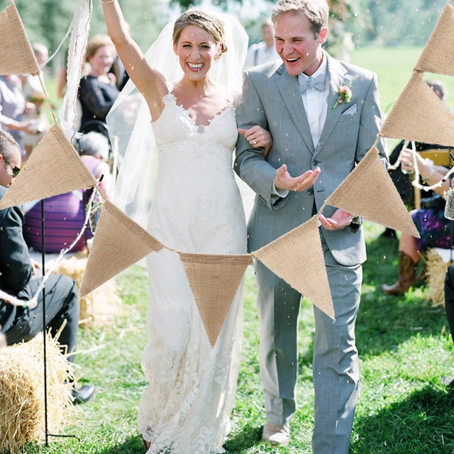 3m 13 Flags Vintage Jute Rope Hessian Burlap Banner Bunting Pennant Wedding Decoration Photography Props Party Decoration