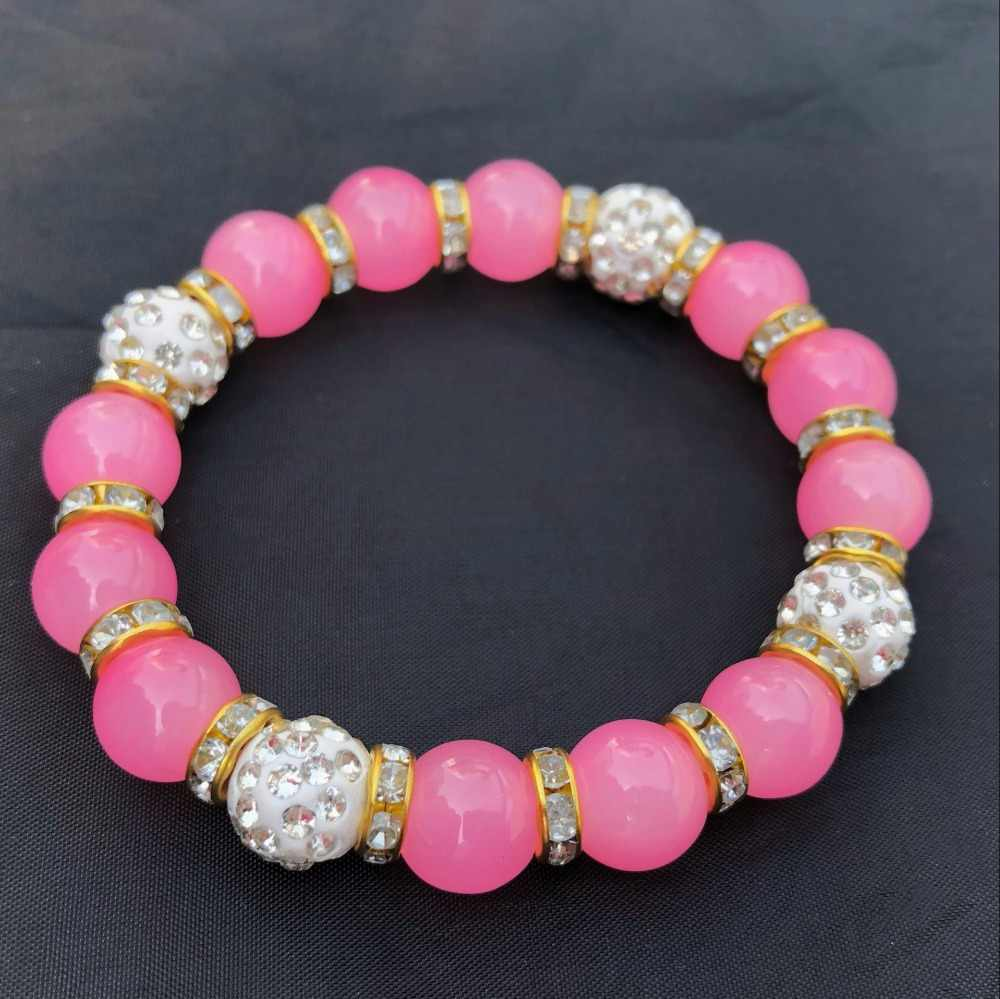 Fashion Natural Stone Colored Ball Bracelet Retro Glamour Round Beaded Crystal Bracelet Girl Gift Jewelry