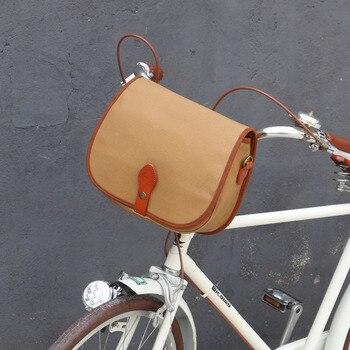 Tourbon Vintage Bicycle Bag Front Handlebar Retro Bike Panniers Backseat Bags Messenger Khaki Canvas Water Repellent for Cycling