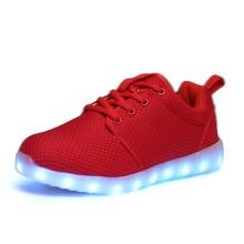 Free Shipping 7 Colors Luminous Led Light Shoes Men Women Fashion Breathable USB Rechargeable Led Shoes Big Size 35-46 Black
