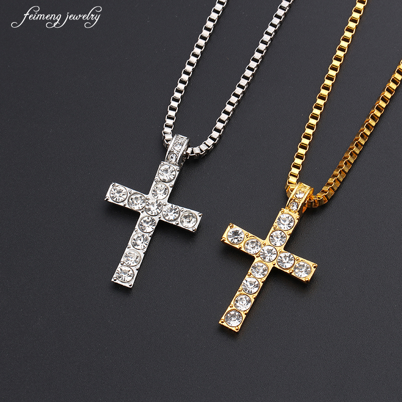 Hip Hop Alloy Gold Color Cross Pendant Necklace Religious Iced Out crystal Crucfix Necklace Jewely For Men Free Cuban Chain