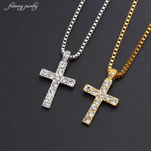 Hip Hop Alloy Gold Color Cross Pendant Necklace Religious Iced Out crystal Crucfix Necklace Jewely For Men Free Cuban Chain(China)