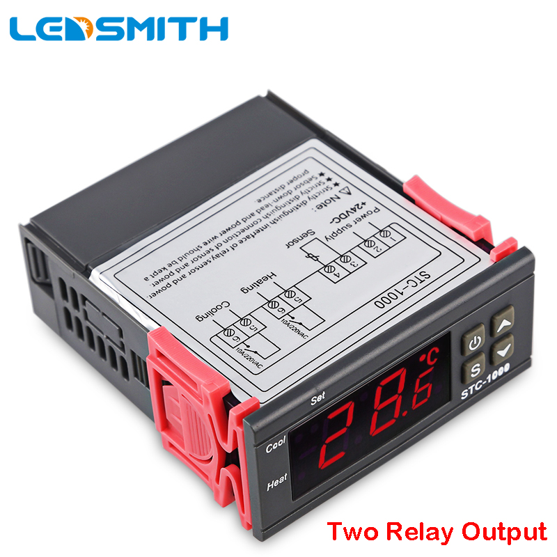 LEDSMITH LED Digital Temperature Controller STC-1000 12V 24V 220V Thermoregulator thermostat With Heater And Cooler digital stc 1000 220v all purpose temperature controller thermostat with sensor