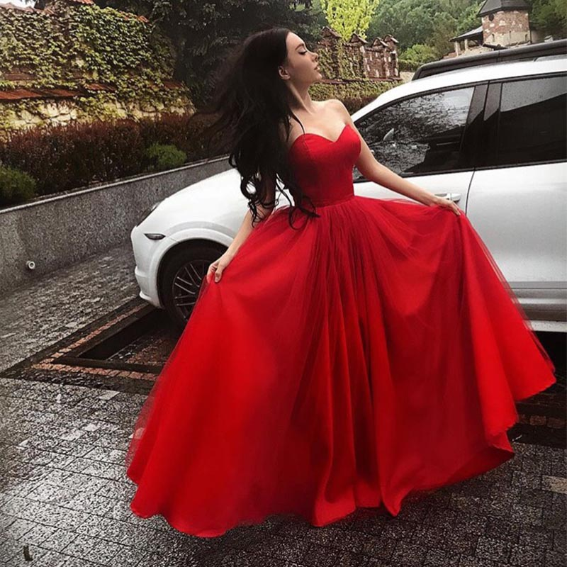 Gorgeous A-line Prom Dresses Sweetheart Neckline Simple Red Princess Long Vestido De Formatura Wedding Dinner Formal Party Gowns