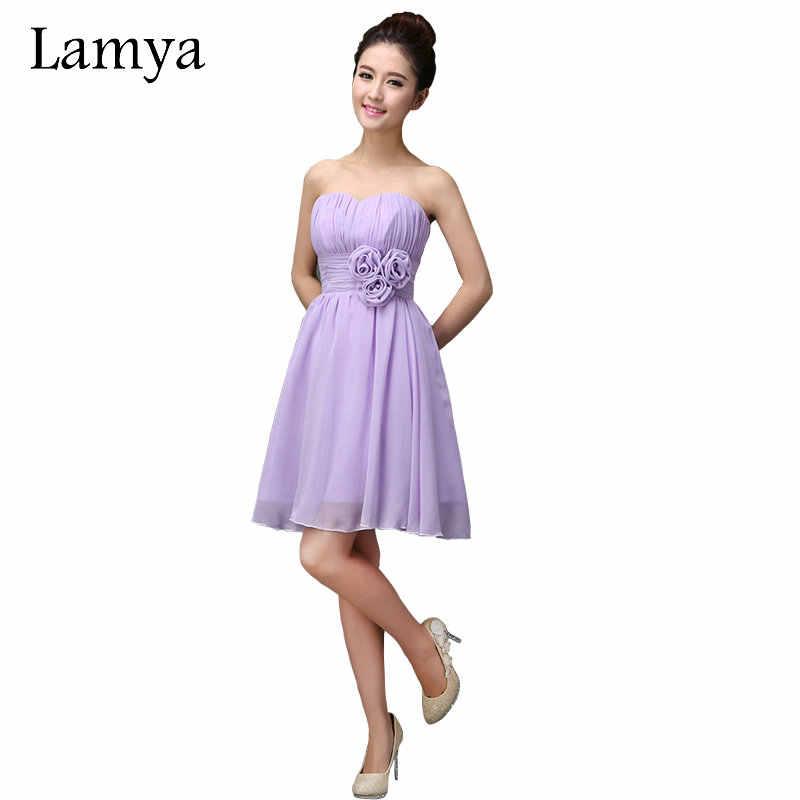 Lamya Chiffion Short A Line Elegant Bridesmaid Dresses 2018 Lady Girl  Fashion Cheap Wedding Party Dress 10aba84a54b6