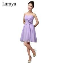 b2563934e Lamya de gasa corto una línea elegante vestidos de dama de honor 2019  señora chica de moda barato boda fiesta vestido en Stock E..