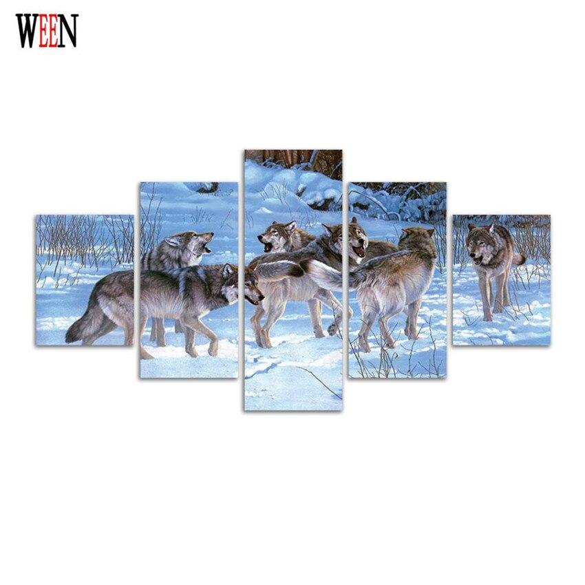 Tienda Online Lobos nieve lienzo pintura HD impreso animal grupo ...