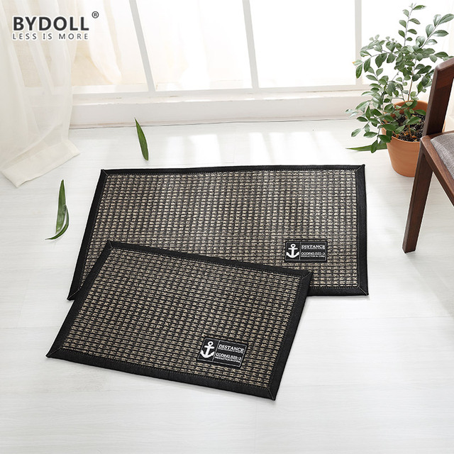 BYDOLL Nonslip Sisal Door Mat Absorbent Stripes Carpet Mediterranean Style  Rugs For Hallway Bathroom Kitchen Outdoor