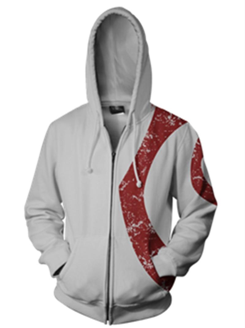 Ghost of Sparta Kratos Sweat à Capuche Sweat-shirt Cosplay Costume Manteau Zippé God of War