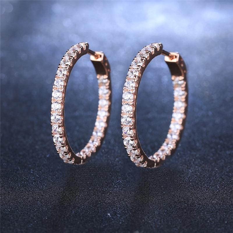Romad Fashion Earring Jewelry for Women Silver Gold Color Hoop Earring with Full Stone CZ Zircon Crystal Loop Wedding Earing Z3 in Hoop Earrings from Jewelry Accessories