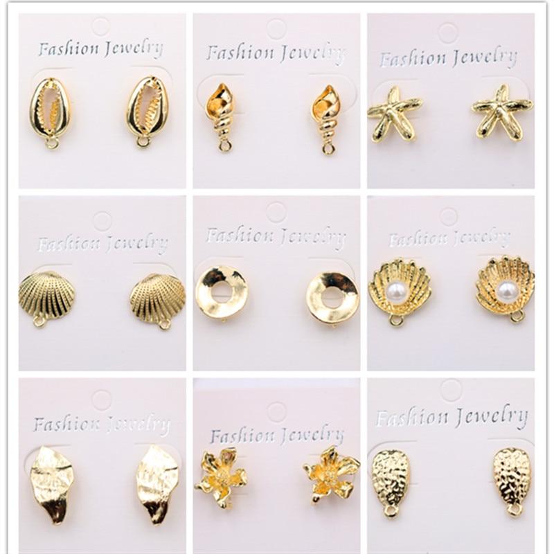 Creative Marine Style Metal Stud Earring Shell Charm Starfish Conch Seaweed DIY Lady Jewelry A329 1pair