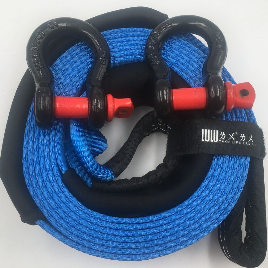LULU 5M 15Tons 75mm 3 x16 33000lbs Snatch Strap Tow Strap Car Towing Rope Recovery Strap