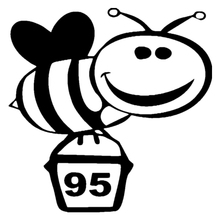 CS-1086#12*12cm Bee on the tank 95 funny car sticker vinyl decal silver/black for auto stickers styling decoration