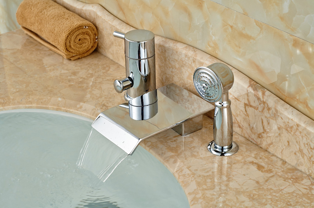 Chrome Brass Square Waterfall Spout Bathroom Tub Faucet 3 pcs Sink Mixer Tap waterfall spout chrome brass bathroom tub faucet 3 pcs sink mixer tap
