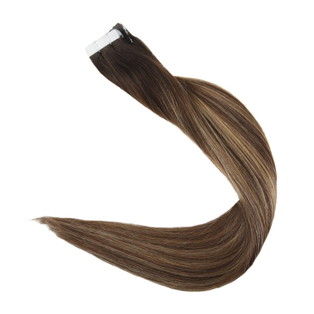 Full Shine Tape In Hair Extensions 50 Gram Glue On Hair Balayage Color 100% Remy Human Hair Extensions Adhesive Tape On Hair