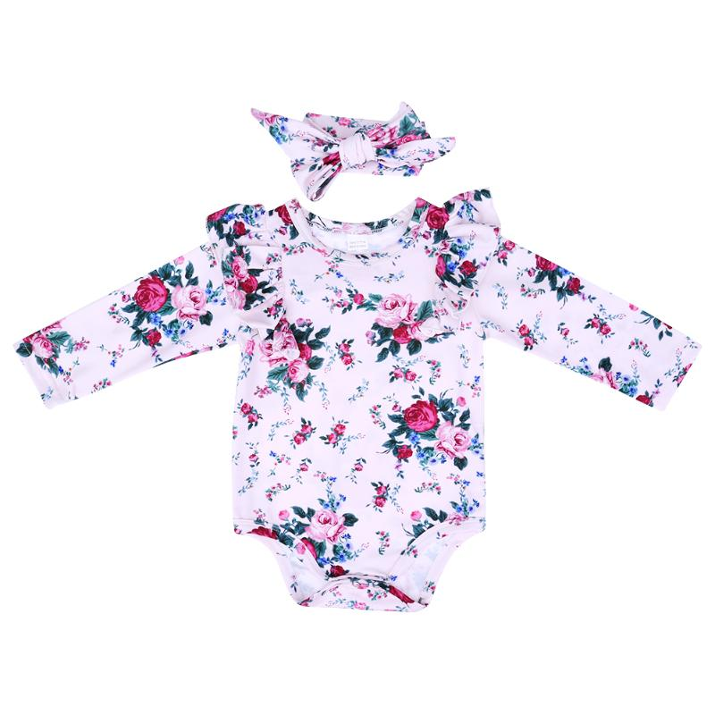 2017 New Floral Baby Romper for Newborn Overall Long Sleeve Flower Print Jumpsuit+Headband Baby Girls Clothes Set