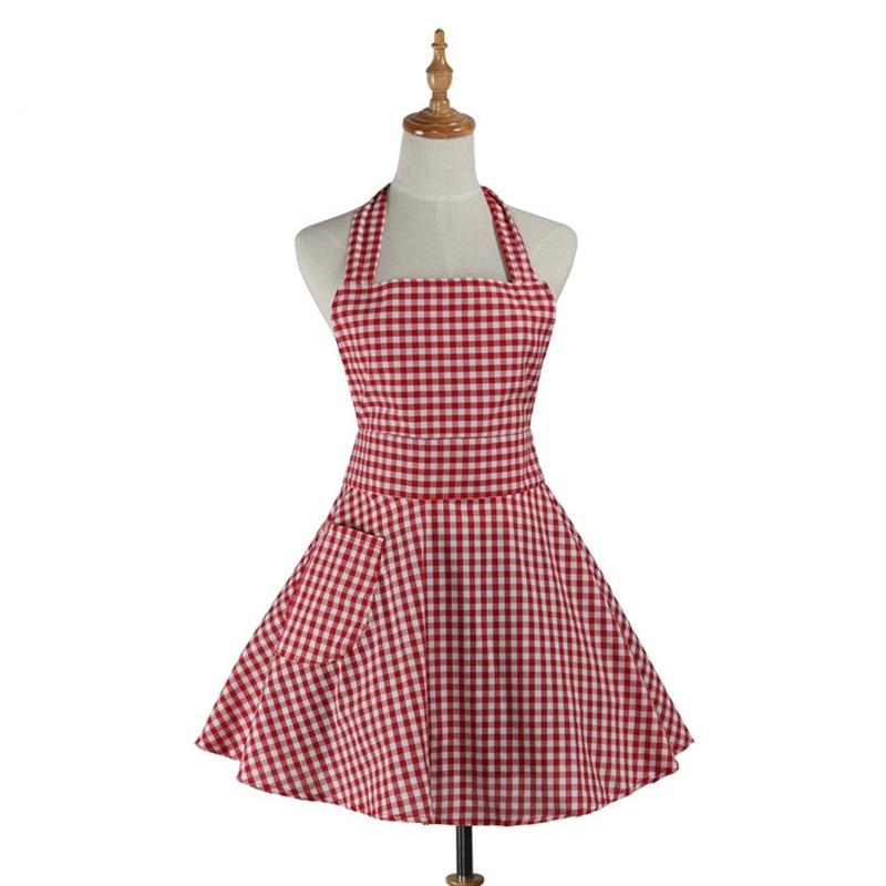 רטרו מטבח סינר אישה Gingham בישול מלצרית סלון מספרה עבודה כותנה סינר השמלה Avental de Cozinha דיוורידו