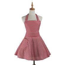 Retro Kitchen Apron Woman Gingham Cooking Waitress Salon Hairdresser Working Cotton Apron Dress Avental de Cozinha Divertido